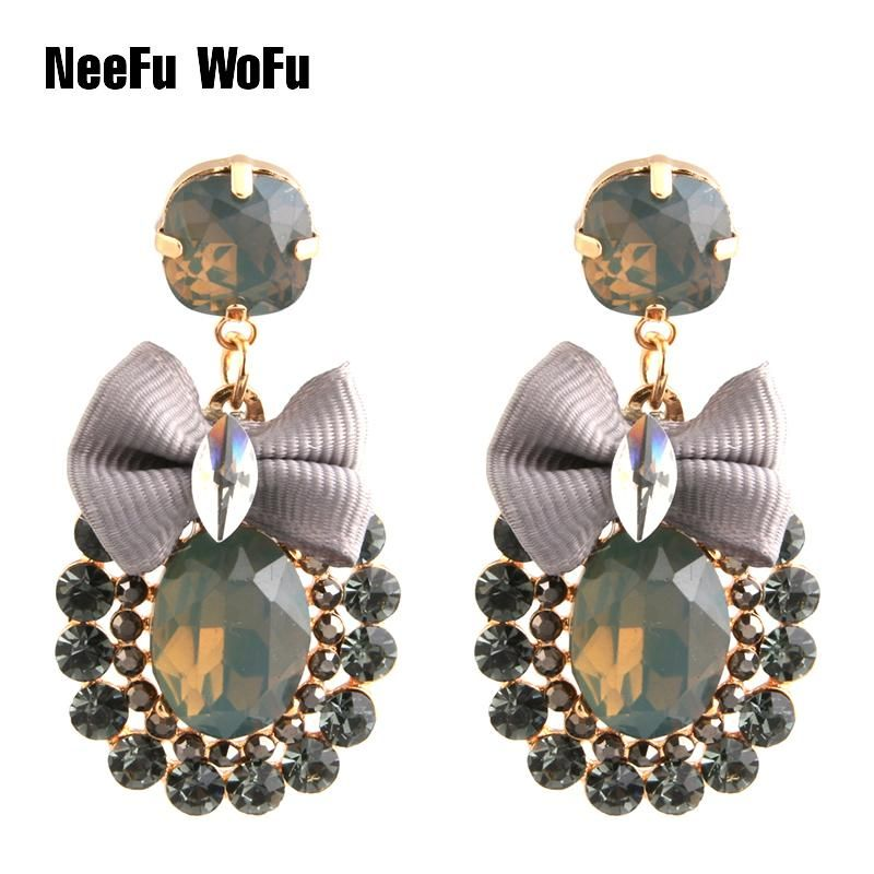 NeeFu WoFu Drop Rhinestone Tie Big Earring Dangle Zinc alloy Large Long  Brinco Printing Ear Accessories 90873b2af06c