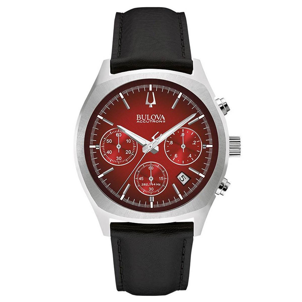 bulova 96b238 menu0027s accutron ii red dial black leather strap chronograph watch