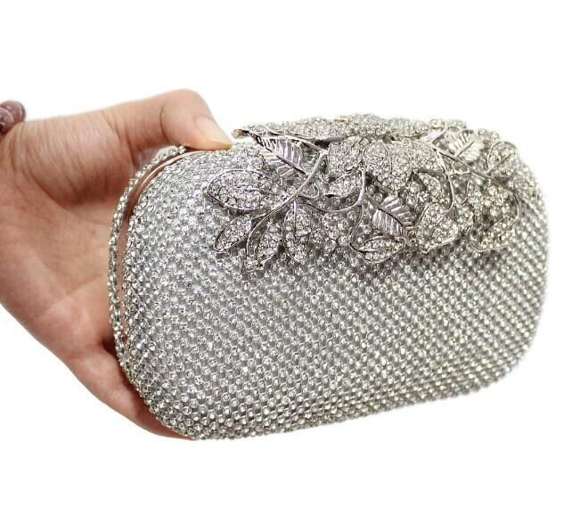 bdc8c80924 2016 Luxury Diamond Gold Evening Bags Peacock Silver Clutch Crystal be