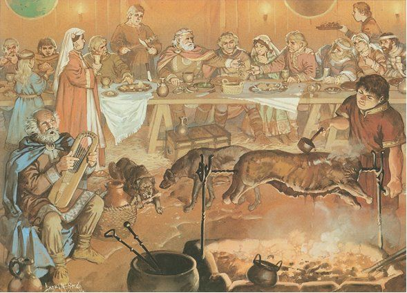 Medieval Royal Feast Germanic Tribes Early Middle Ages Roman
