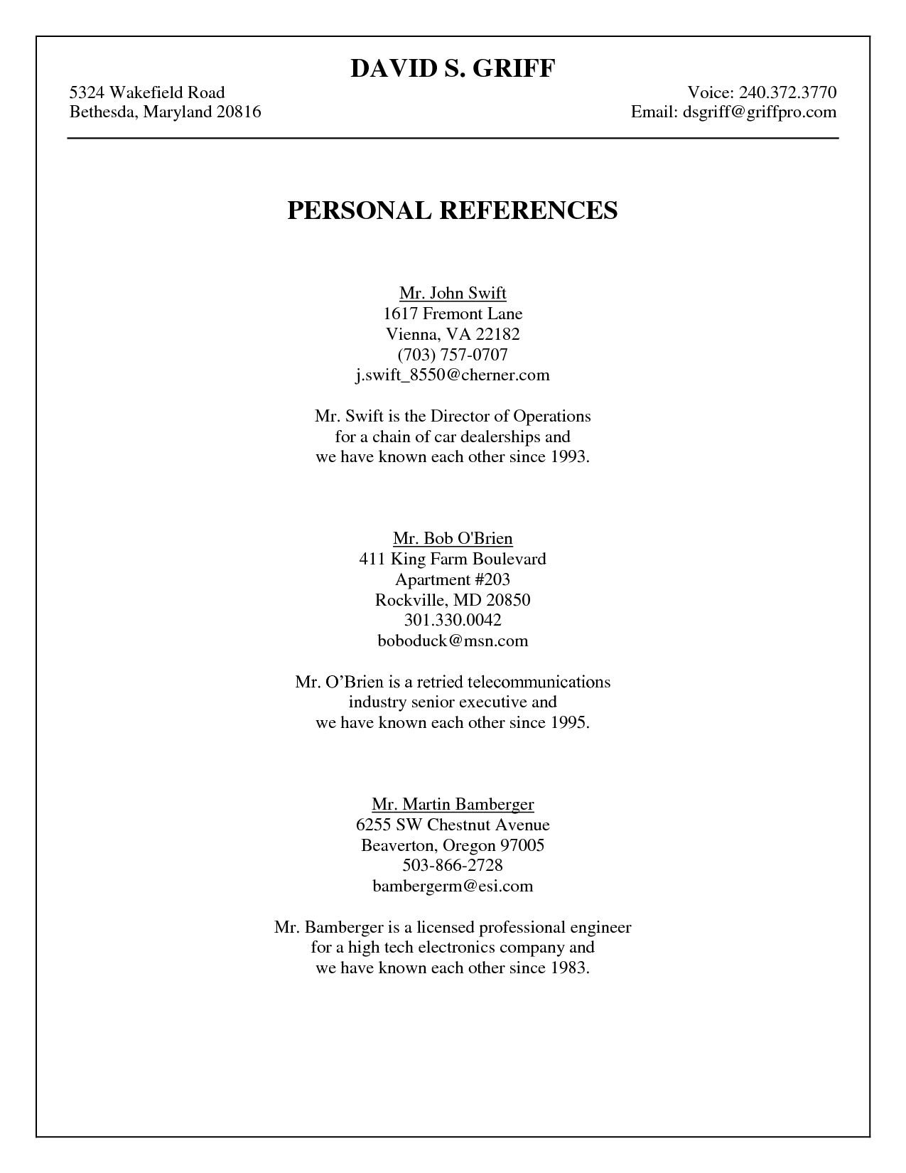 Personal Reference Template  Griff Personal References 071407  organizing  Resume references