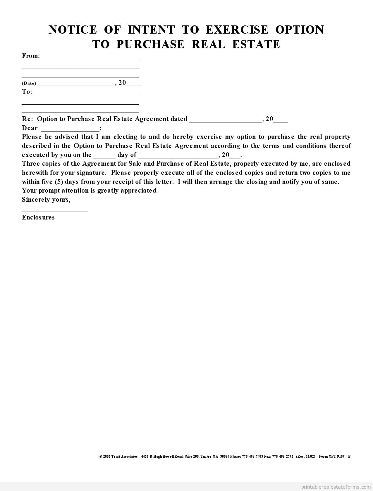Sample Printable Notice Of Intent To Exercise Option Form