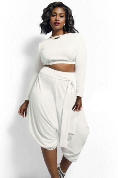 0f29dff9ed8 White Plus Size Crop Top Draped Convertible Pants Set