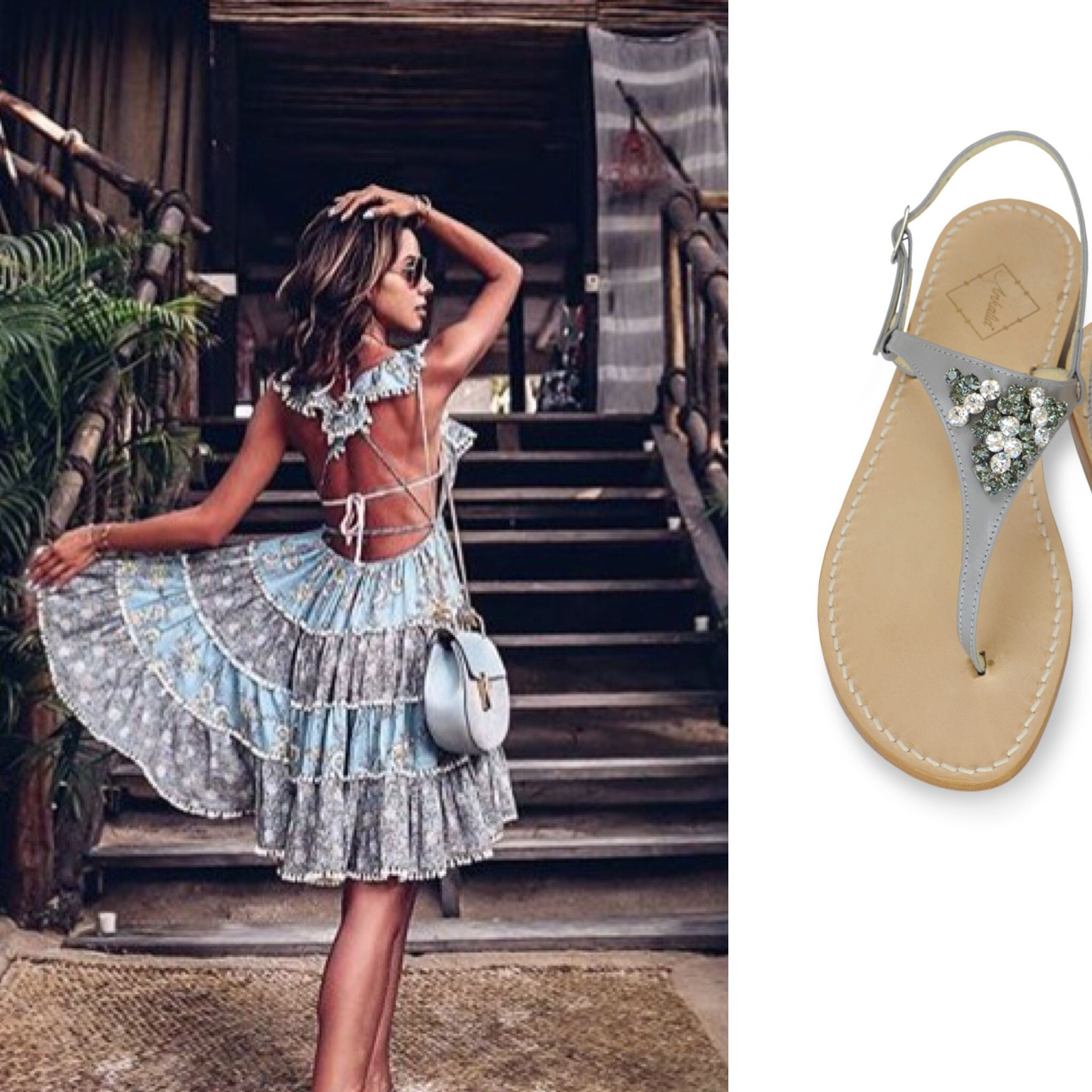 d0baeaa5b9 Zimmerman dress worn by Annabelle Fleur. Perfect with our Amanda sandals in  grey leather with