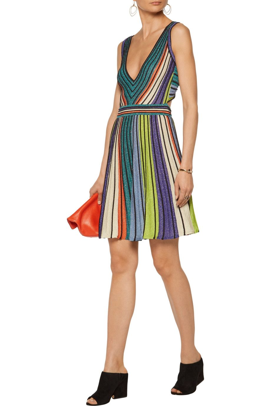 0d89b5f33a44f4 Shop on-sale M Missoni Cutout metallic striped stretch-knit mini dress.  Browse other discount designer Dresses & more on The Most Fashionable  Fashion Outlet ...