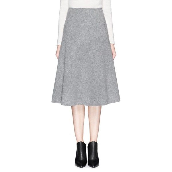 Theory 'Uthema Double Faced' wool cashmere skirt (€410) ❤ liked on Polyvore