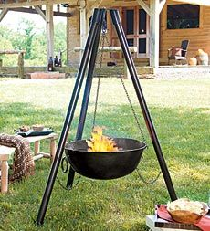 Steel Campfire Cauldron Tripod Fire Pit With Cooking Grill Grate Fire Pit Fire Pit Backyard Fire Pit Decor