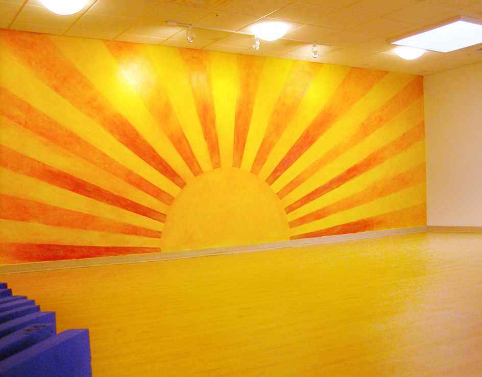 our sun wall painted by Peaks Islanders Diane Wiencke and ...