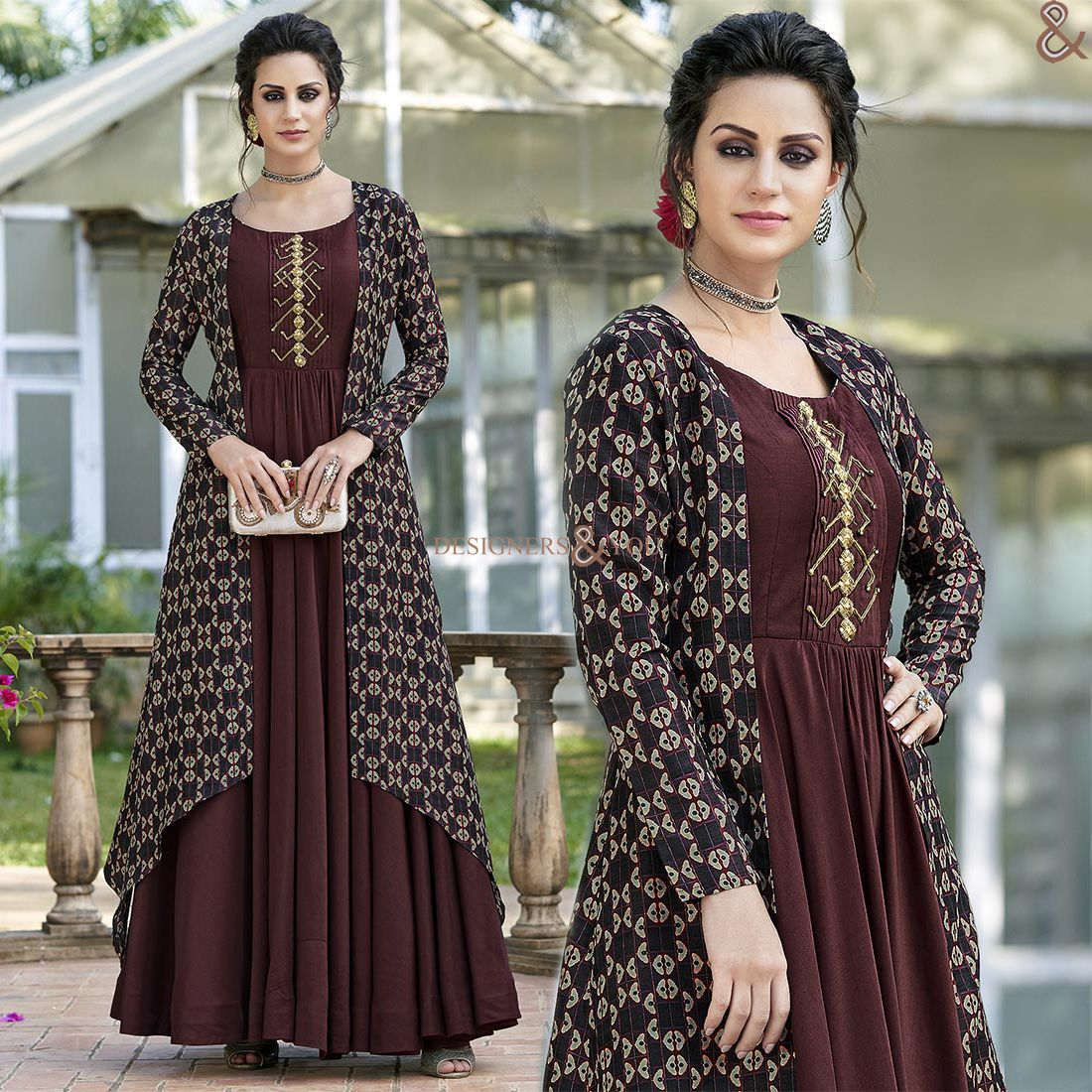 df92845c9f #Designers#And#You #Make The Most Of This Good Deal Of Culled #Brown # Printed #Tailor-Made Koti Style Gown. This Gathering Wear Jacket Style Art  Silk Maxi ...