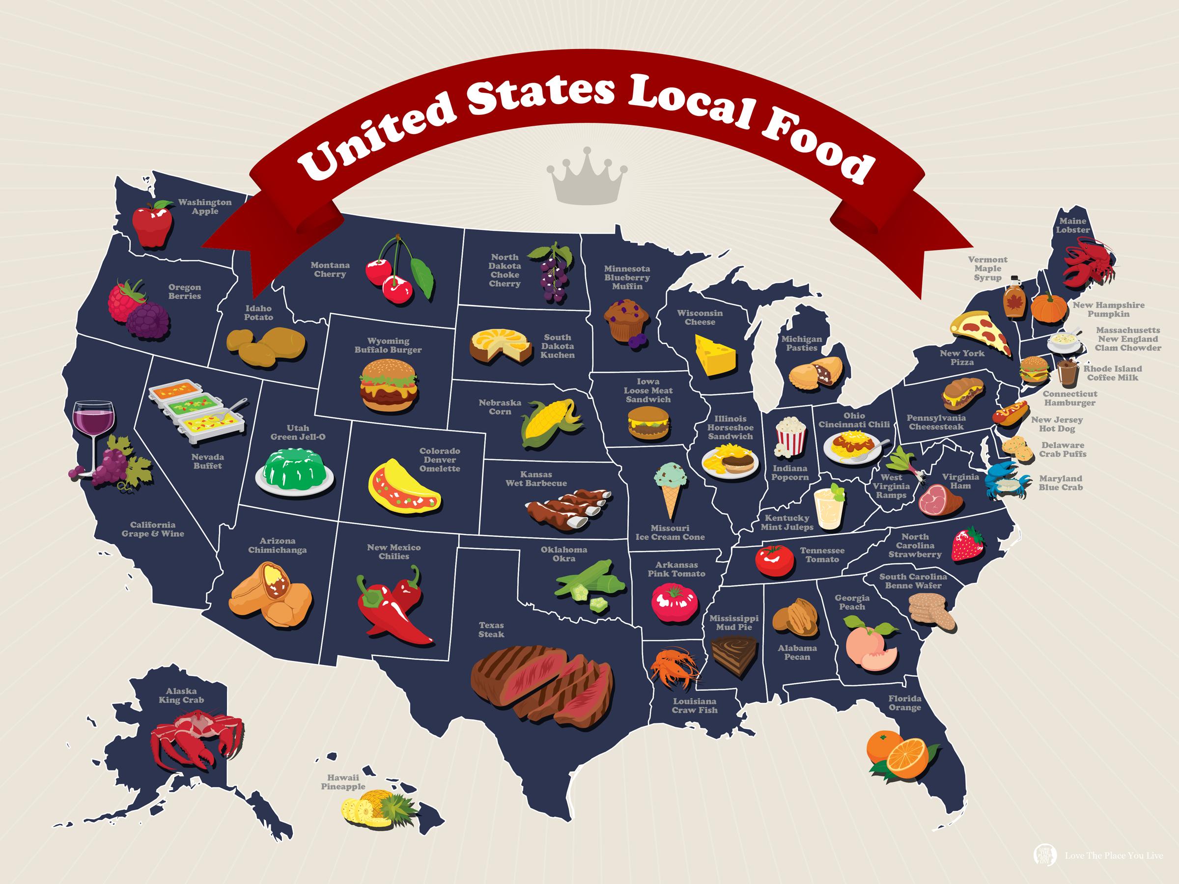 United States Local Food Map Mapa De Estados Unidos Mapas Mapas Geograficos