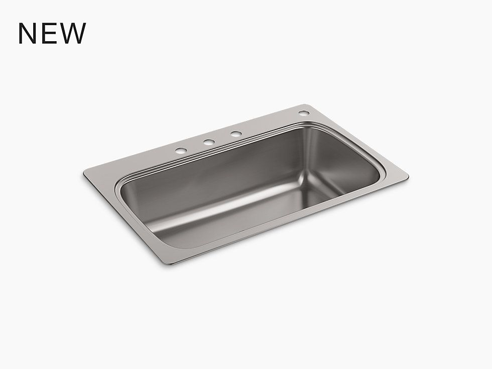K-20060-4-NA | Verse Top-Mount Kitchen Sink, Four Faucet Holes ...