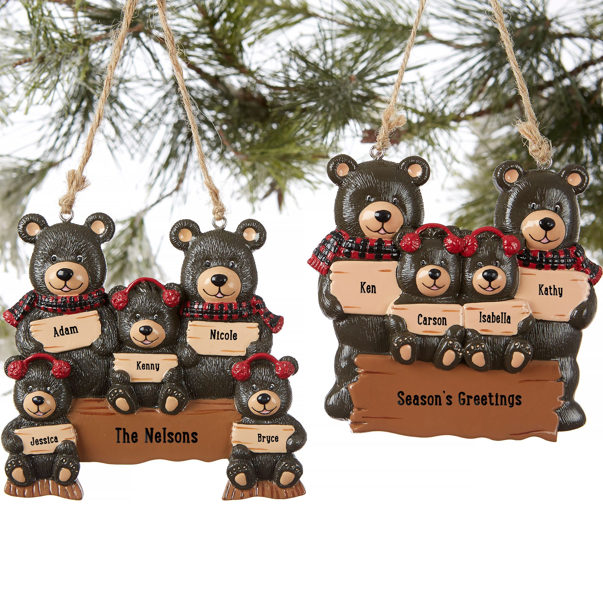 Holiday Bear Family 3 Names Personalized Ornament Family