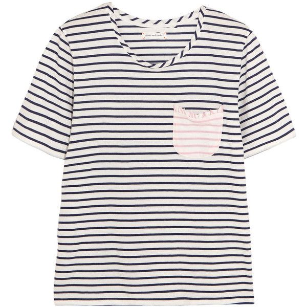 Chinti and Parker Striped cotton-jersey T-shirt (125 CAD) ❤ liked on Polyvore featuring tops, t-shirts, shirts, pocket shirts, breton-striped shirts, pocket t shirts, breton t shirt and ruffle shirt