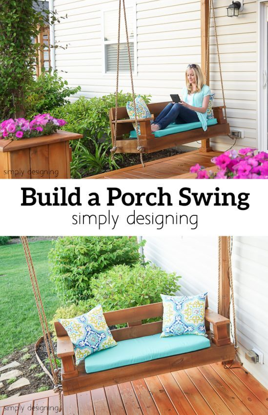 Front Porch Decorating Ideas With The Perfect Adirondack Chairs Our House Now A Home: Diy Porch Swing, Porch Swing, Building A Porch