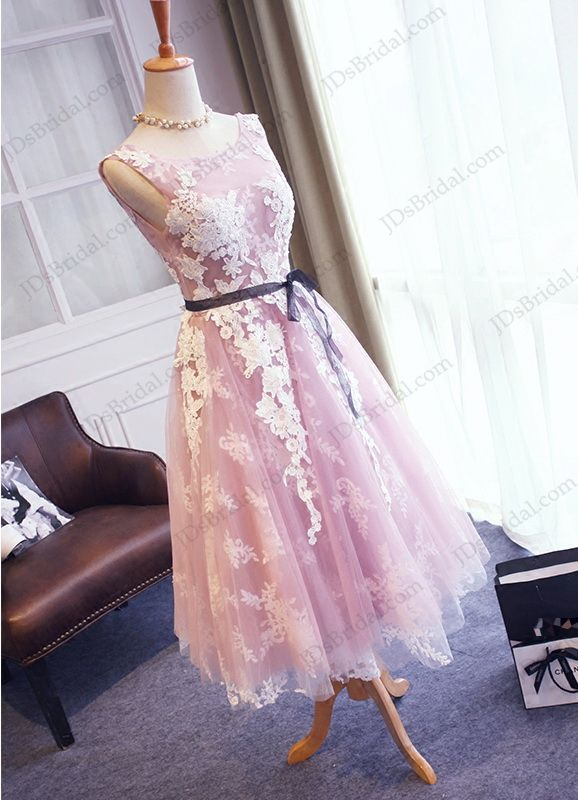 PD16041 Amazing purple with white lace detailed tea length prom gown ...