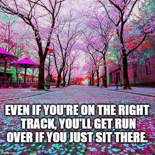 Even if you're on the right track, you'll get run over if you just sit there.-Will Rogers