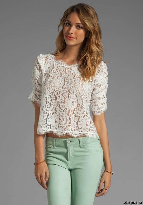 406d632fd079e Blusas blancas de encaje moda casual elegante