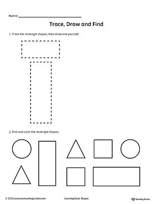 Trace Draw And Find Rectangle Shape Shapes Worksheets Shapes