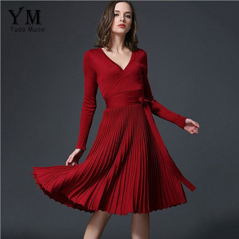 1a685b98cd13e YuooMuoo European Design Elegant Autumn Dress V-neck Women Casual ...