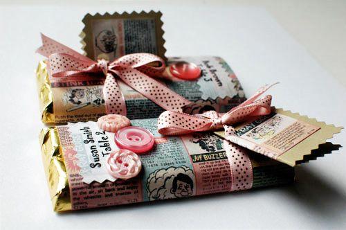 double duty: favor + escort card.  love the vintage-y wrappers.  #wedding