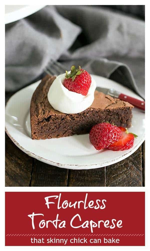 This Torta Caprese or Italian Flourless Chocolate Cake has loads of chocolate flavor from semisweet chocolate and Dutch processed cocoa power. Perfect for dessert whether you're gluten free or not!