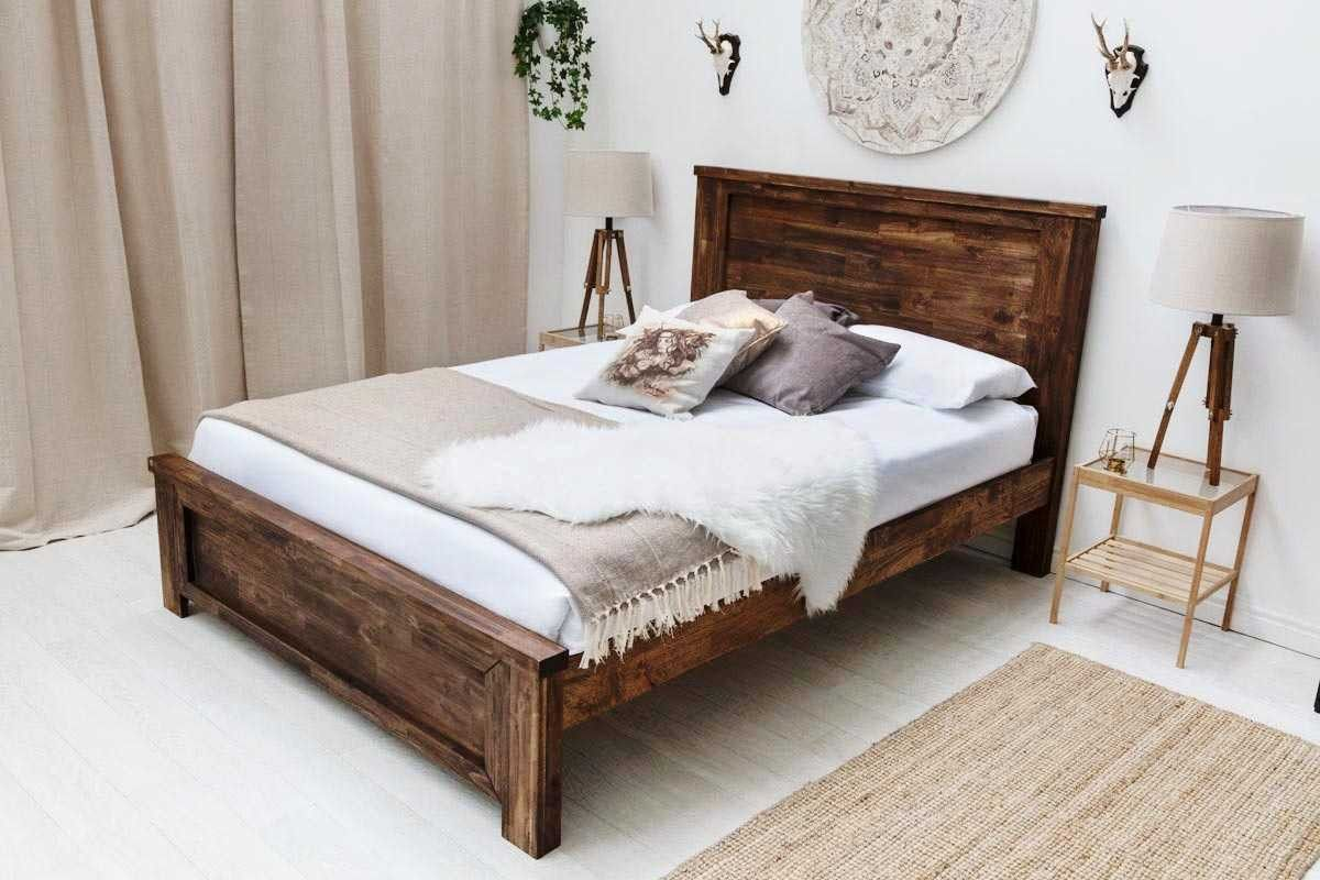 Plumley Caramel Solid Acacia Wooden Bed Frame Double King Size