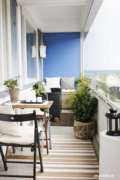 Blue wall balcony