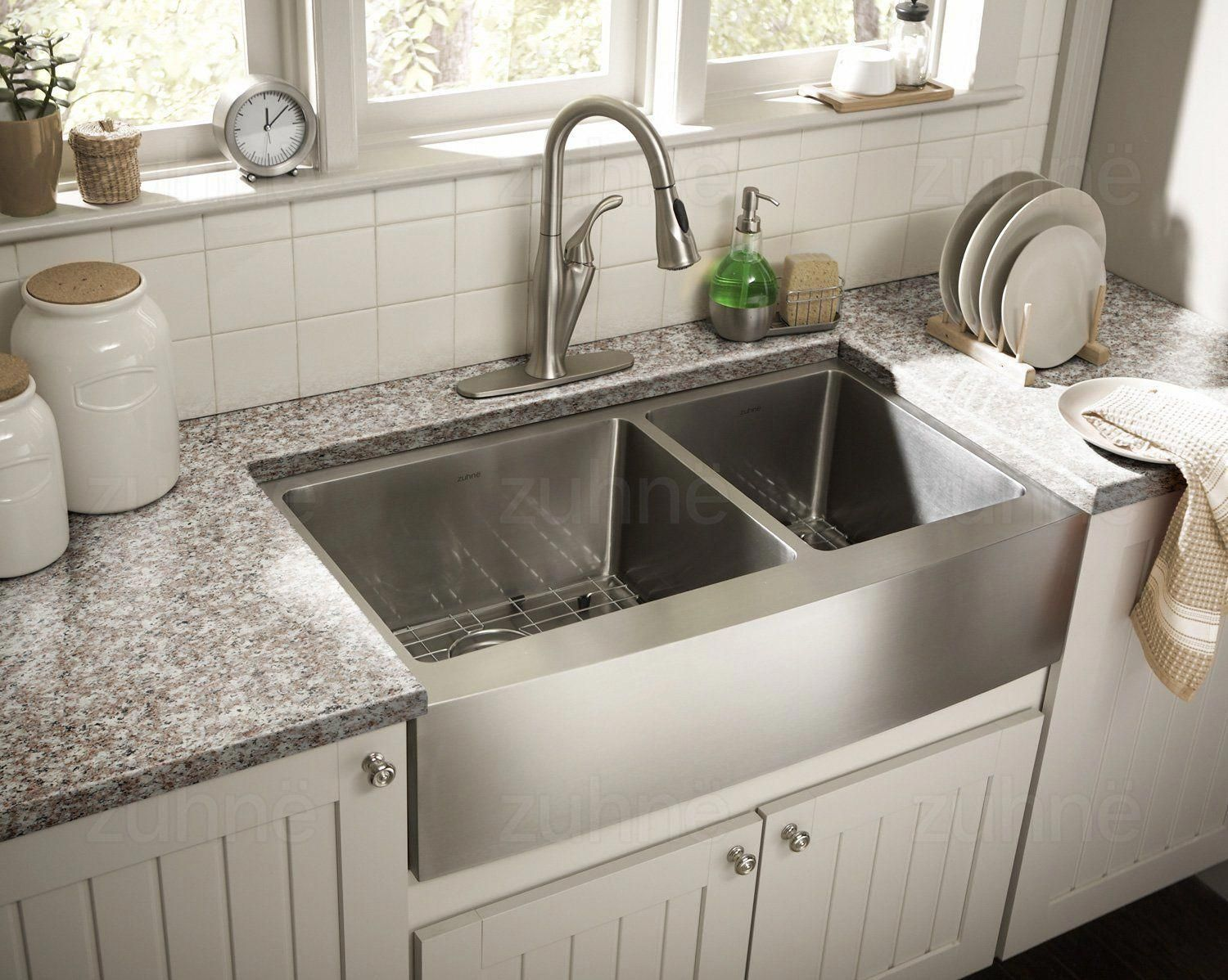 Zuhne Farmhouse Deep Double 16 Gauge Stainless Steel Kitchen Sink
