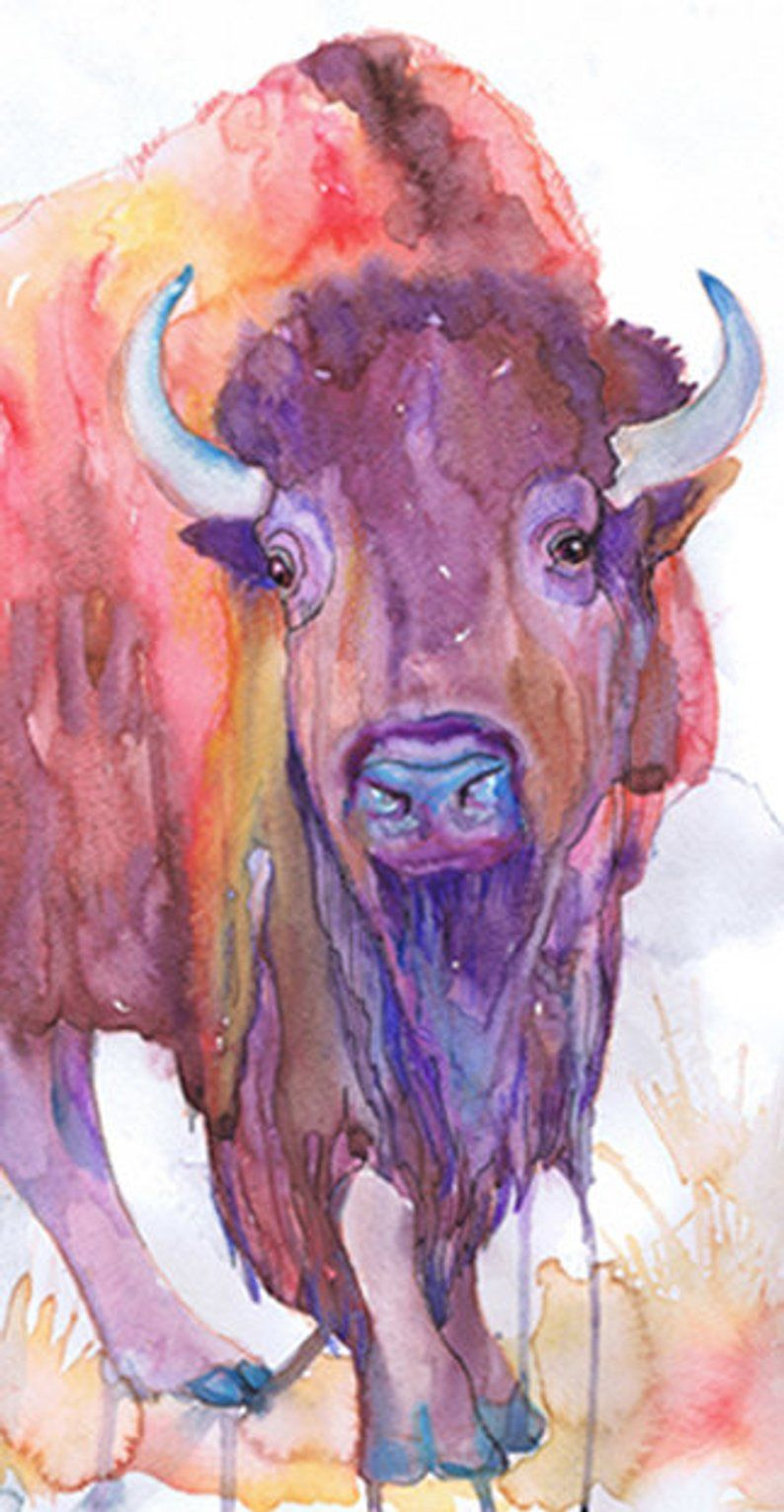 Animal Art Buffalo Watercolor Painting Bison Illustration Etsy