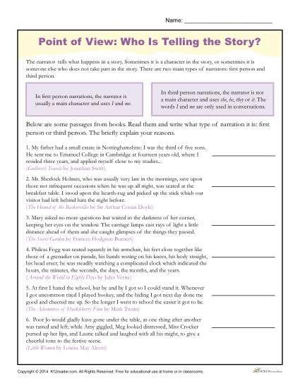 point of view worksheets reading worksheets worksheets and students. Black Bedroom Furniture Sets. Home Design Ideas
