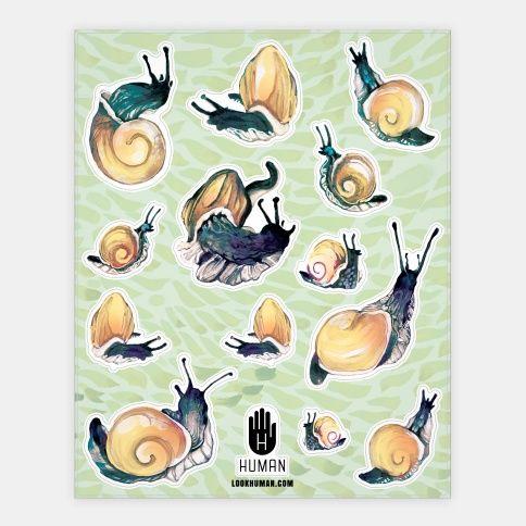 Golden Snail Shells Stickers