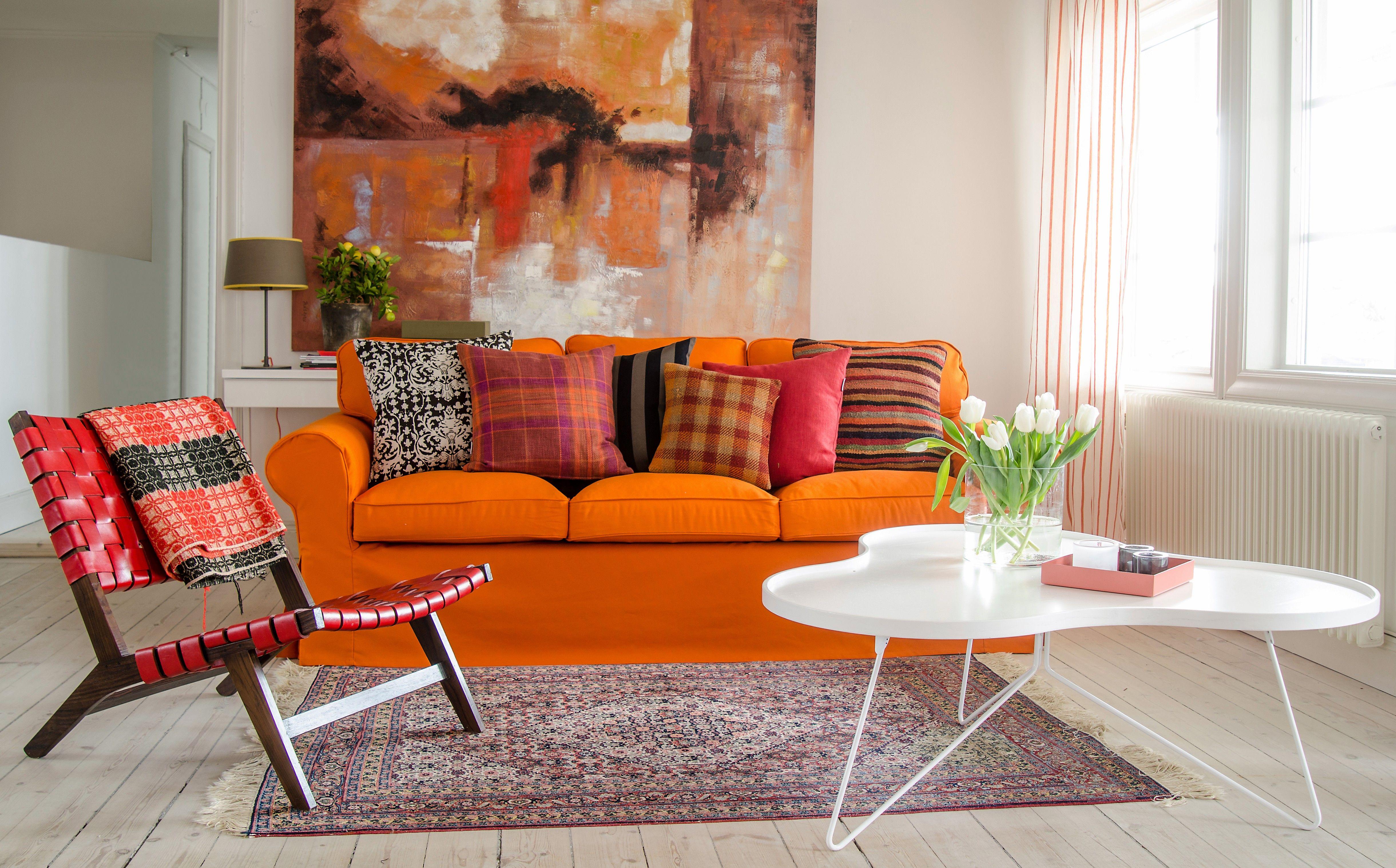 Ektorp 3 seater sofa cover fabric Mandarin Orange Panama Cotton