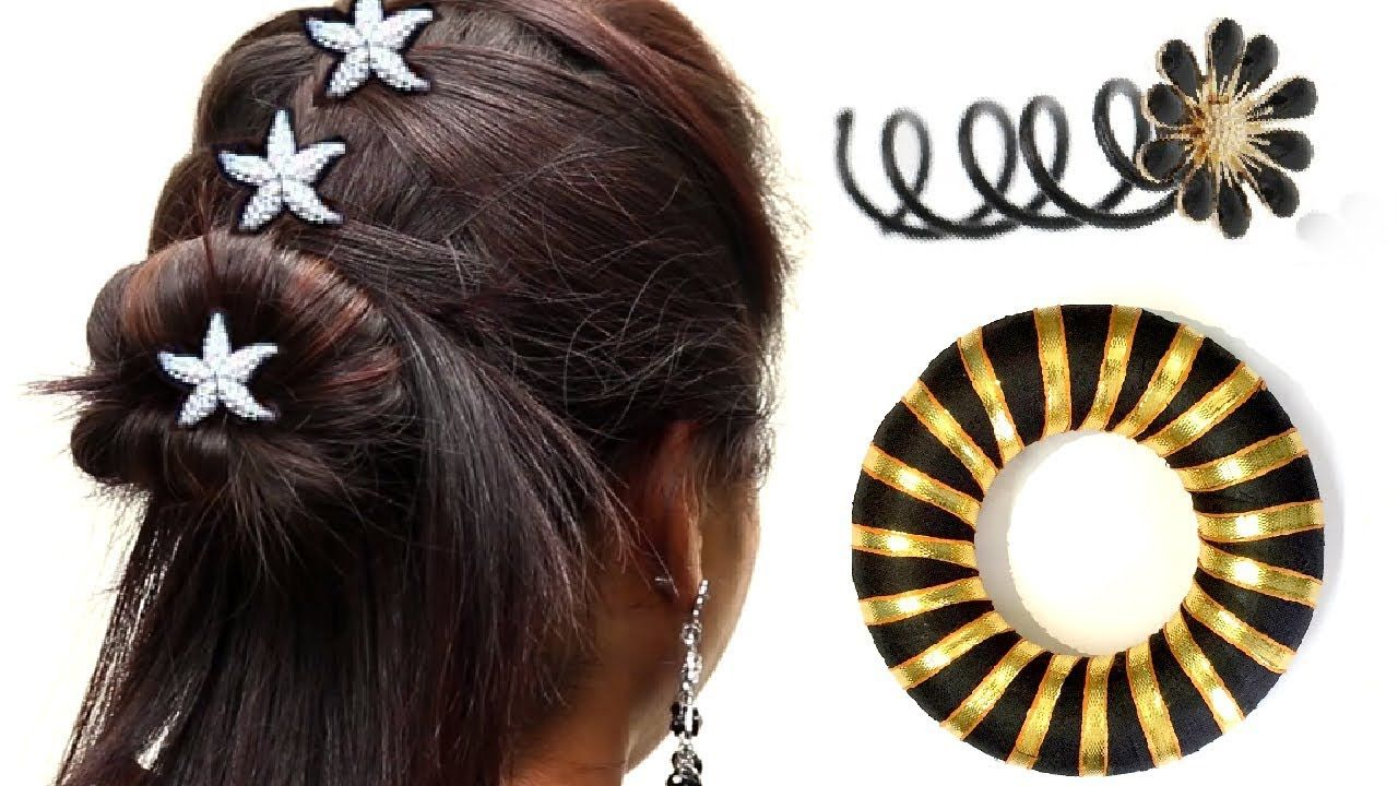 Quick Easy Bun Hairstyles With Accessories Hairstyle - Hairstyle bun videos