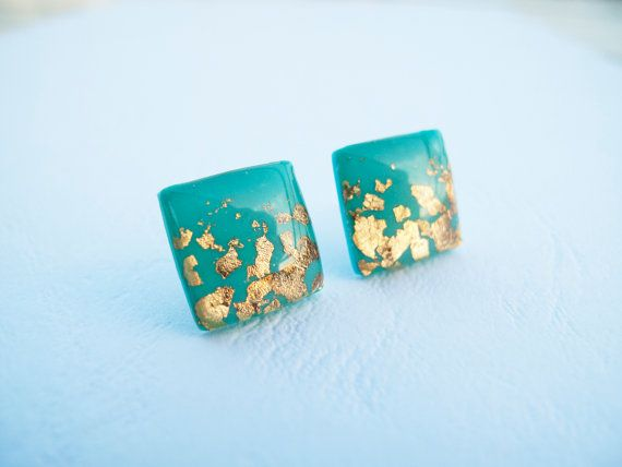 Turquoise Gold Square Stud Earrings  Polymer Clay by LaLiLaJewelry, $16.00