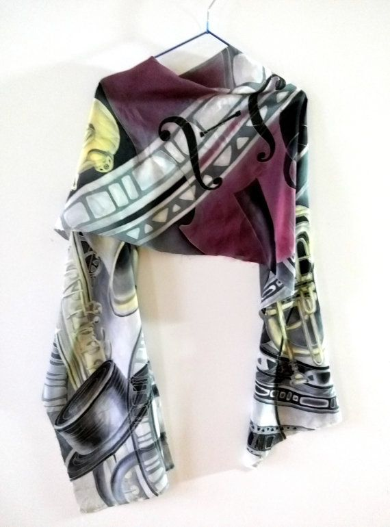 Hand Painted Silk Scarf Jazz Handpainted By Allatai Gift For Music Lover