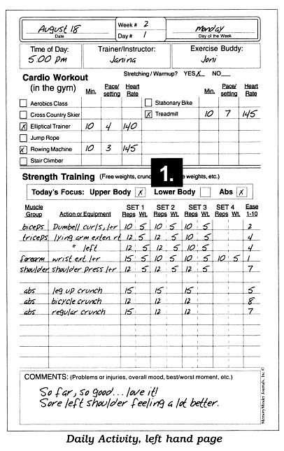 cardio workout log