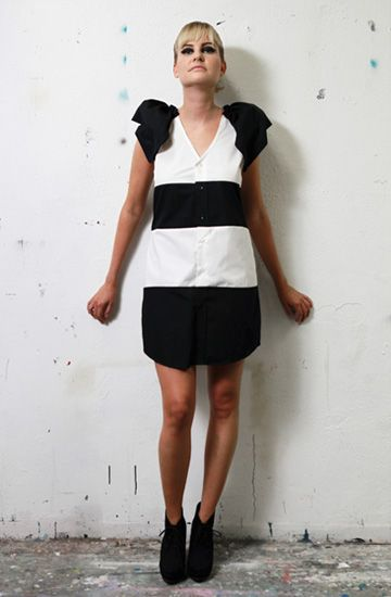 FIrst Crush - Päivi mekko (made from black and white blouses)