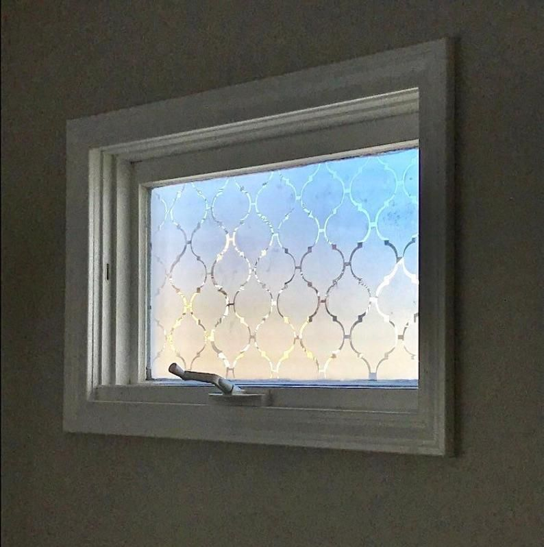 Frosted Moroccan Privacy Window Cover Adhesive Pieces Vinyl Film