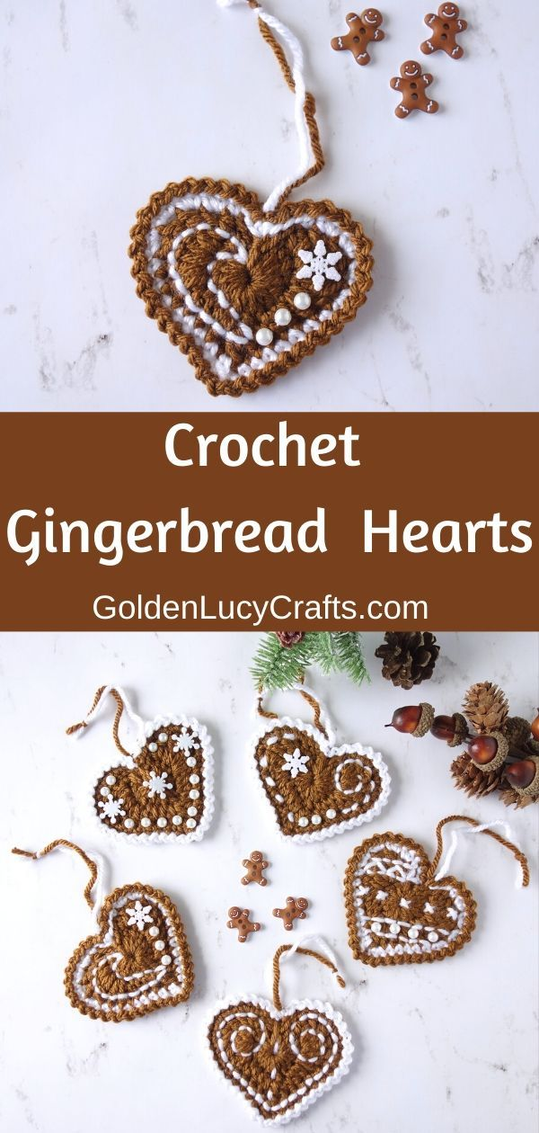 Photo of Crochet Gingerbread Heart Ornaments
