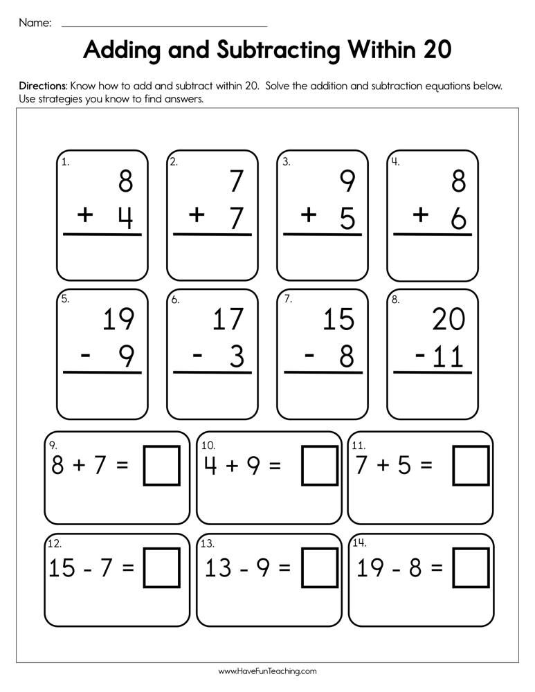 Pin On Worksheets Add and subtract within worksheets