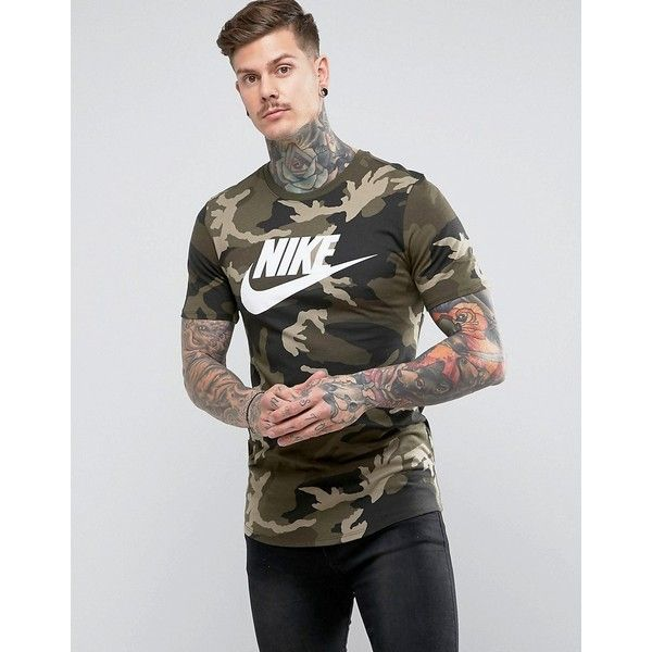 8e4cb35aa9dc Nike Camo T-Shirt With Dropped Hem In Green AA1196-355 ( 41) ❤ liked on  Polyvore featuring men s fashion