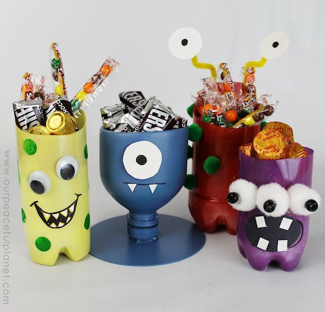 Easy halloween craft treat holders fun halloween crafts for Craft items made from plastic bottles