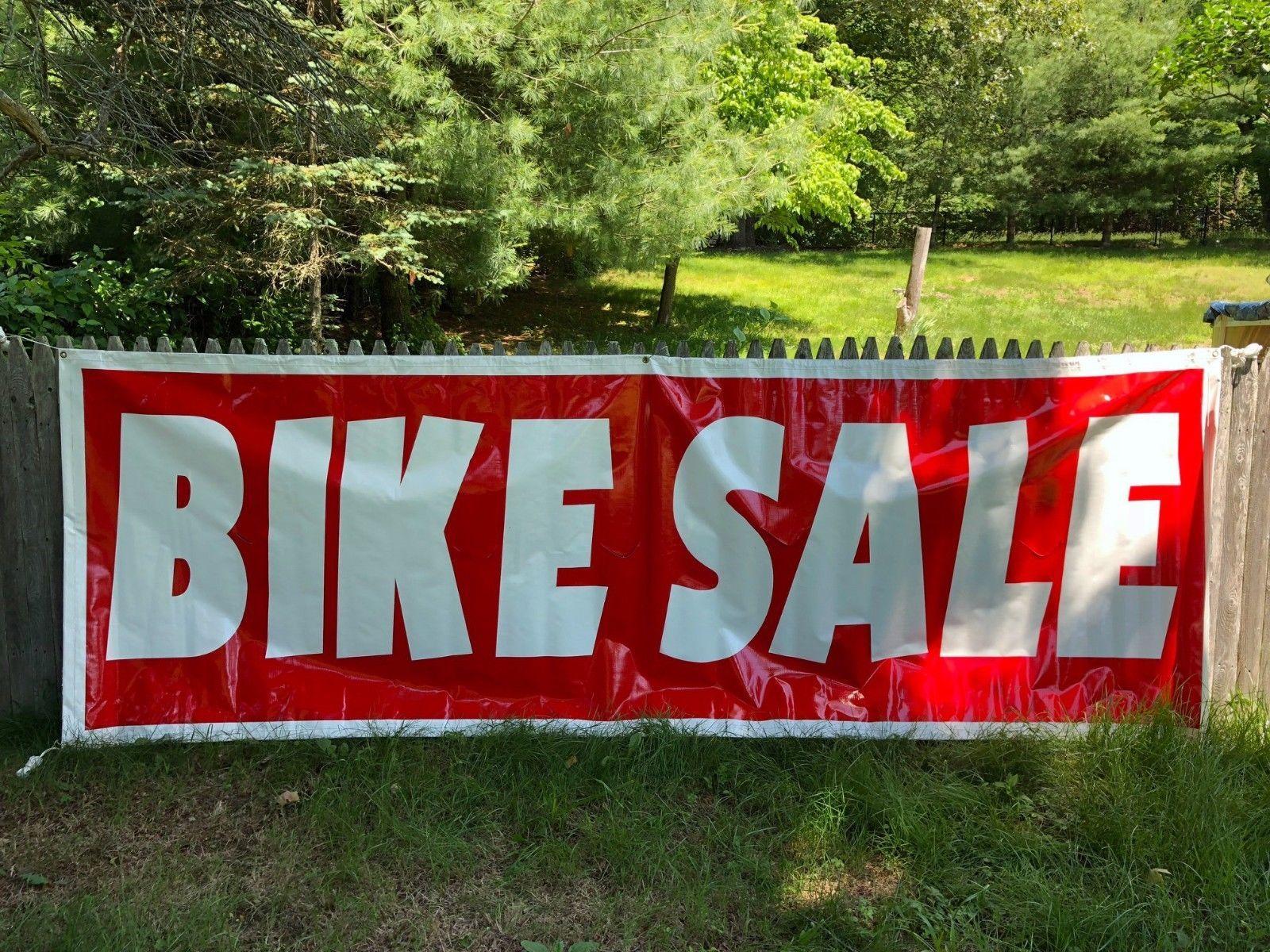 Bike Sale Sign Outdoor Advertising Vinyl Banner Folded Stitched