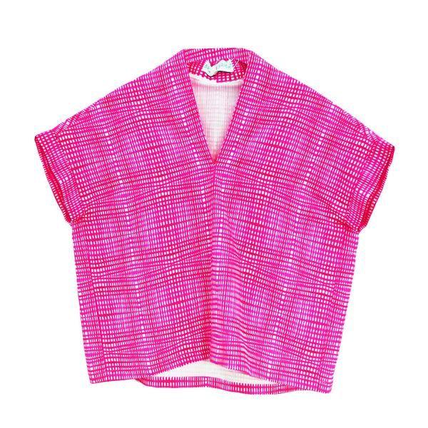 Kimono Pink Check V Neck Blouse