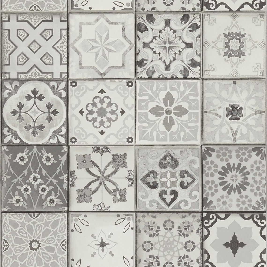 Elegant Papier Peint CARREAUX, Vinyle Sur Intissé Imitation Carreaux De Ciment, Gris