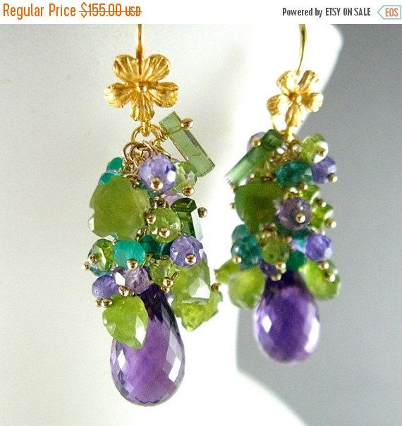 Purple and Green Gemstone Cluster Gold Filled Earrings - Amethyst ...