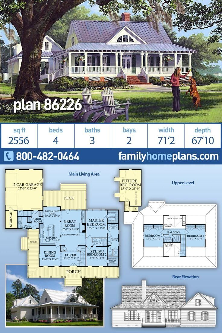 #houseplan  #architecture  #architectural  #newhome  #newconstruction  #newhouse  #homeplan  #home  #house  #newhouseplan  #blueprints  #futurehome  #newhomeplan  #homedesign  #buildhome  #buildhouse  #build  #southern  #dreamhouse  #familyhomeplans #style #country Southern style country design with covered wrap porch. A 2556 sq. ft. house plan having 4 beds, 3 baths, 2 car garage, mud room, formal dining room and a bonus room.  Use building plans from Family Home Plans to build your next new so
