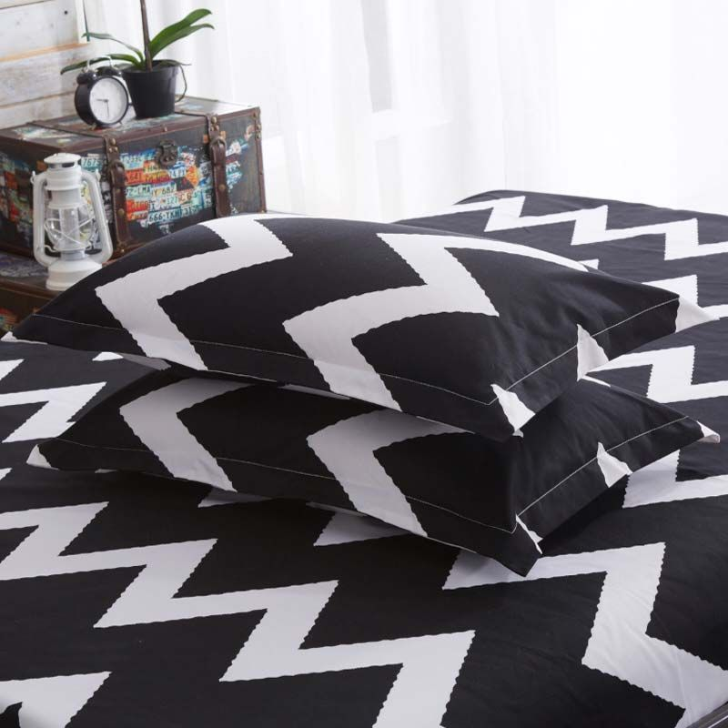 Photo of Modern Simple Bedding Set Black and White Wave Pattern Bedclothes …