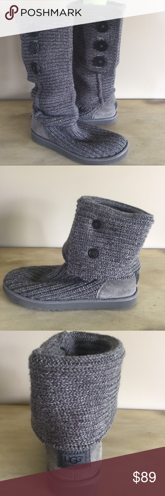 85339782aec 💕UGG Cardy Knit Boots Gray Tall or Fold Excellent condition UGG ...