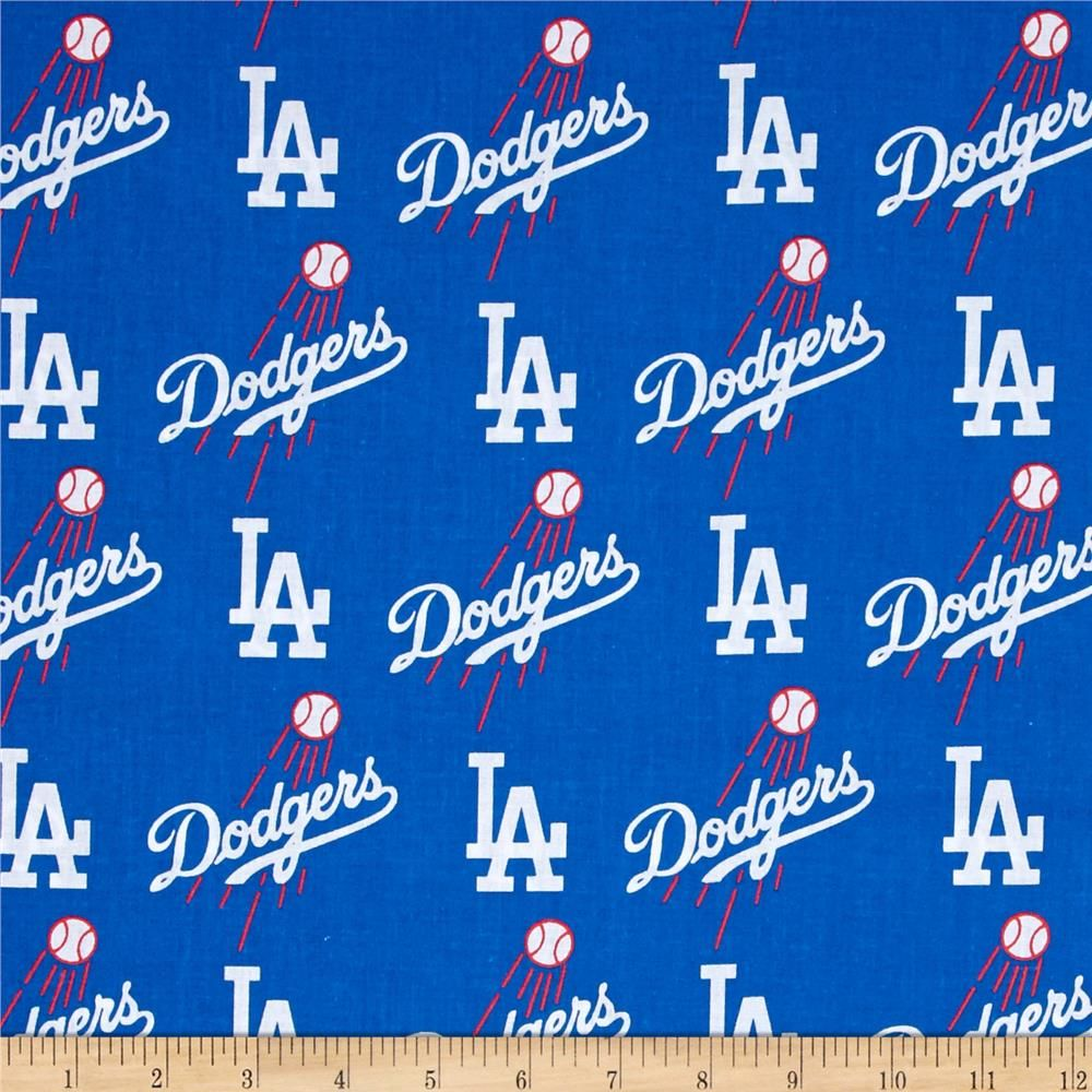 Mlb Cotton Broadcloth Los Angeles Dodgers Blue White Dodgers Los Angeles Dodgers Fabric Letters
